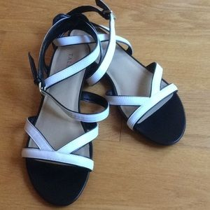 Talbots white sandals w/ Black trim.   Never worn!